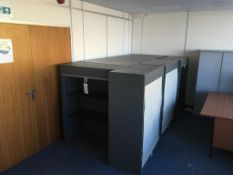 Nine roll down front mid height cabinets