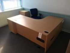 An L shaped desk, 3x pedestals, 2x chairs, a 4-drawer filing cabinet and 2x chairs