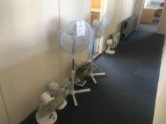 Four desktop fans, two flor standing fans, four electric heaters