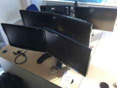 Six computer monitors (2x Samsung 2033SW, 3x DGM,1x iiyana Prolite X2481HS)