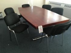 Dark wood veneer conference table (approx. 2.4x1.2m), 6x chairs and a table