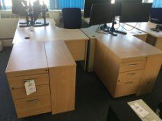 Two L shaped desks, 2x pedestals, 2x bookshelves and a swivel chair