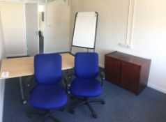 Two swivel chairs, a 2-door cabinet, a flip chart and a light wood veneer table