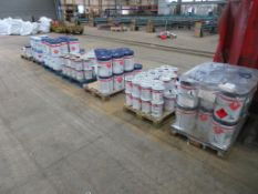 Seven pallets of paint, thinner and primer