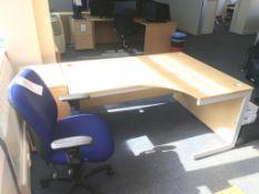 A L shaped desk, a swivel chair and a pedestal
