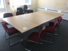 Four light wood veneer tables, twelve chairs and a floor standing fan