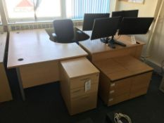 Two L shaped desks, 3x pedestal and a swivel chair