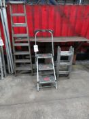 Seven tread ladder, Little Giantthree tread step ladder and a twelve tread folding ladder
