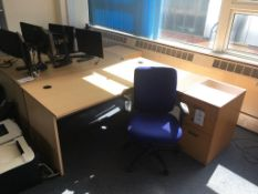 Two L shaped desks, 2x pedestals and 2x swivel chairs