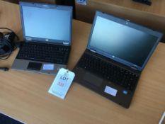 A HP 6530B laptop computer (Windows Vista, Intel Centrino 2 processor) and a HP Probook 6570B laptop