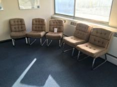 Five fabric upholstered meeting chairs