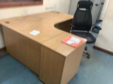 Works office furniture comprising four L shaped desks, four pedestals one desk, two 2-door
