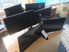 Six computer monitors (4x Benq GW2470, 2x HP Z24i)