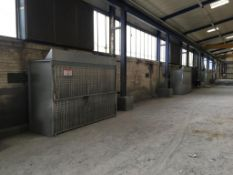 Three dust extraction cabinets, ducting and external fans