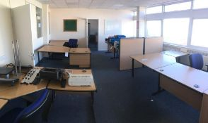 Four L shaped desks, 3x pedestals, 2x book cases, a table, 5x chairs and 6x acoustic dividers