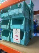 15 x Plastic storage bins, 200mm x 270mm x 180mm high