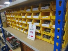 Stainless steel fasteners on one shelf