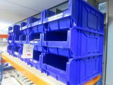 14 x Plastic storage bins, 300mm x 470mm x 180mm high
