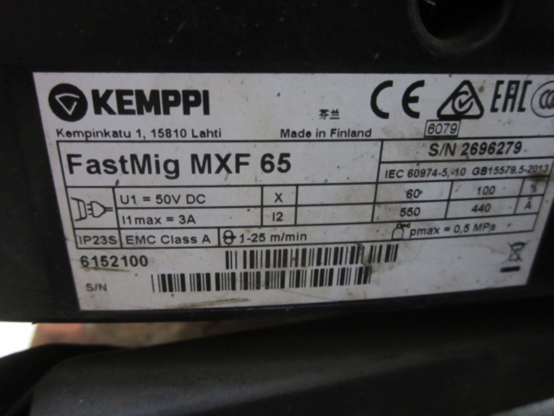 Kemppi Fast Mig M420 mig welder, serial no. 2694679, with Fast Mig MXF65 wire feeder, serial no. - Image 6 of 7