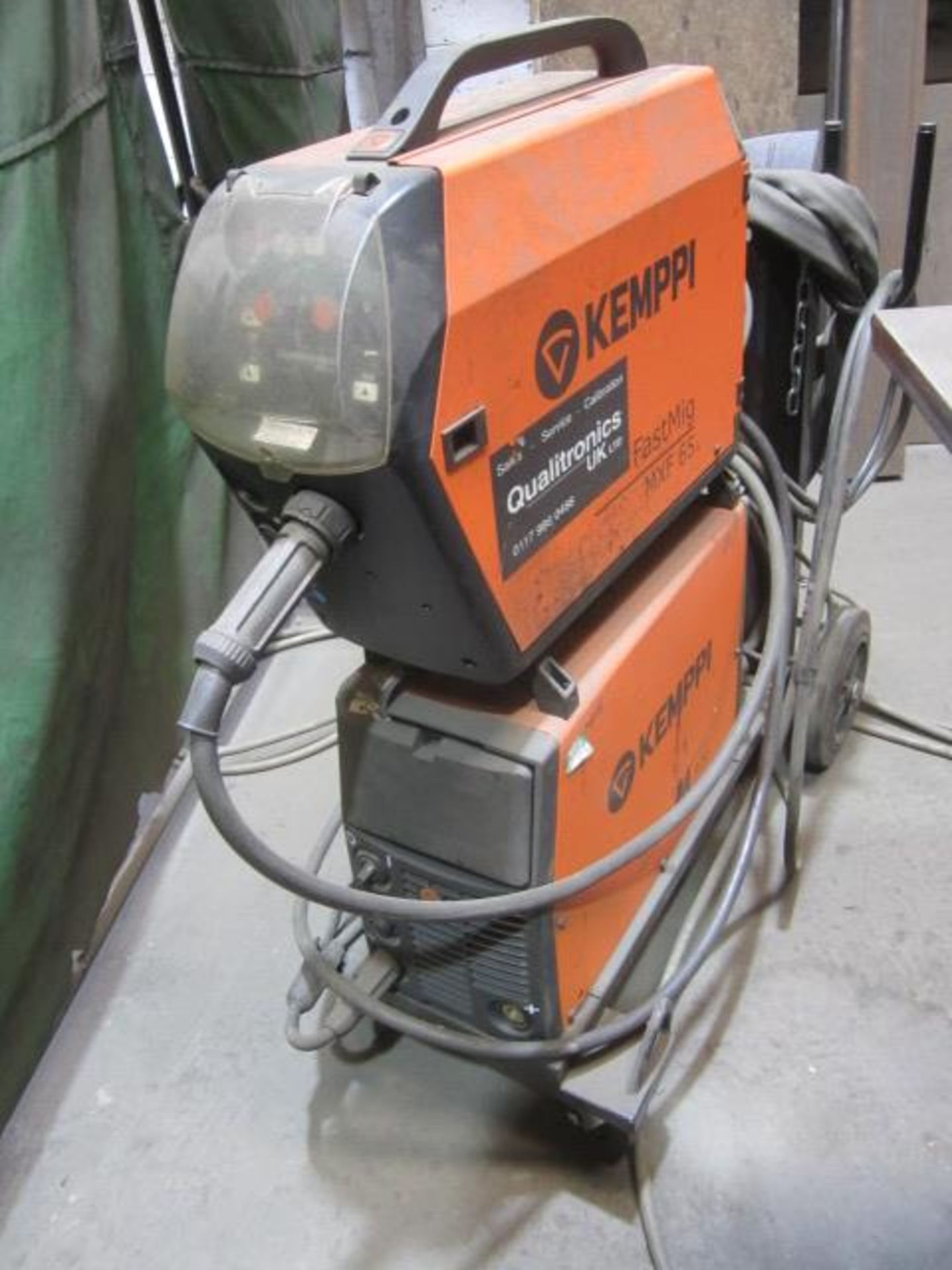 Kemppi Fast Mig M420 mig welder, serial no. 2674175, with Fast Mig MXF65 wire feeder, serial no.