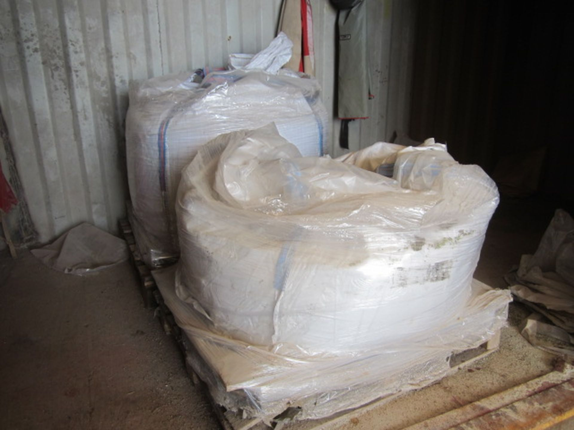 Four part pallets of shot blast stock, coarse and fine grades