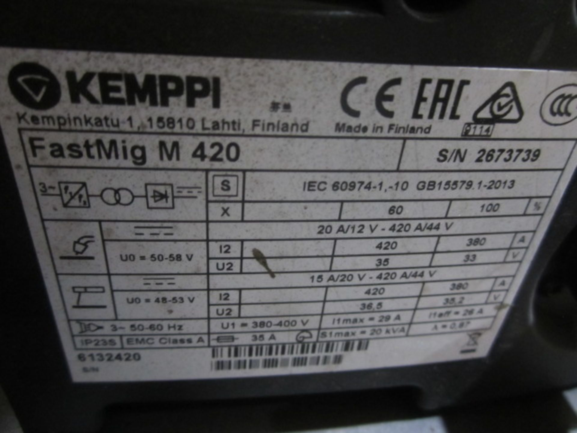 Kemppi Fast Mig M420 mig welder, serial no. 2673739, with Fast Mig MXF65 wire feeder, serial no. - Image 6 of 8
