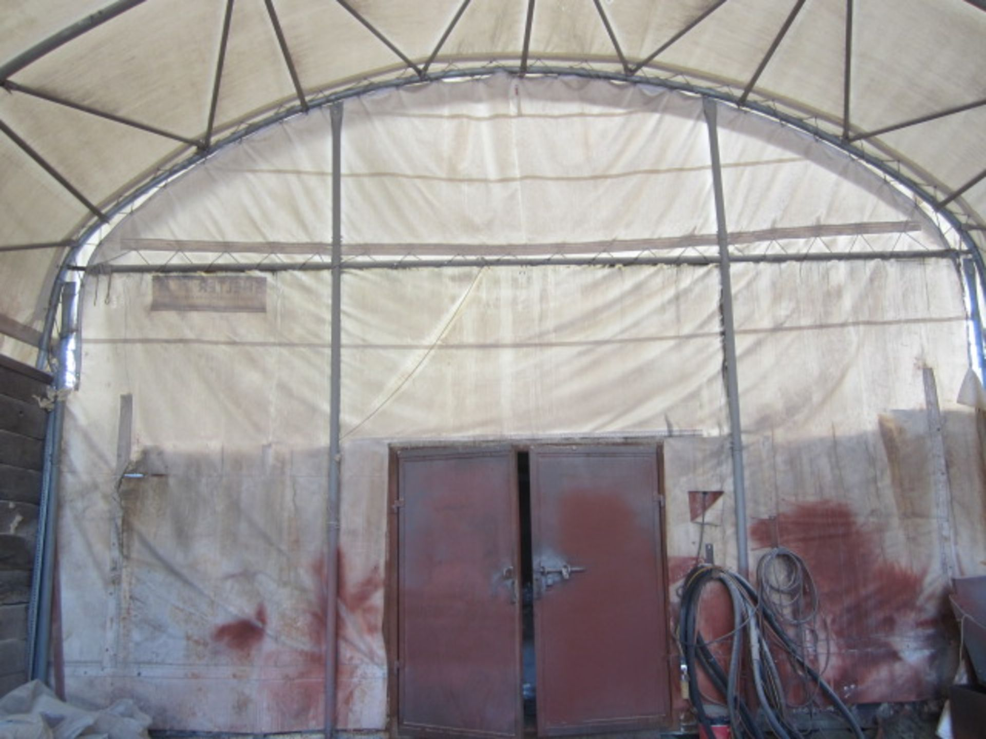Shelter - IT portable industrial canopy, tubular frame, approx. 40ft length x 22ft width x 20ft - Image 3 of 6