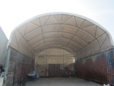 Shelter - IT portable industrial canopy, tubular frame, approx. 40ft length x 22ft width x 20ft