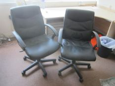 Two assorted leatherette upholstered swivel office chairs
