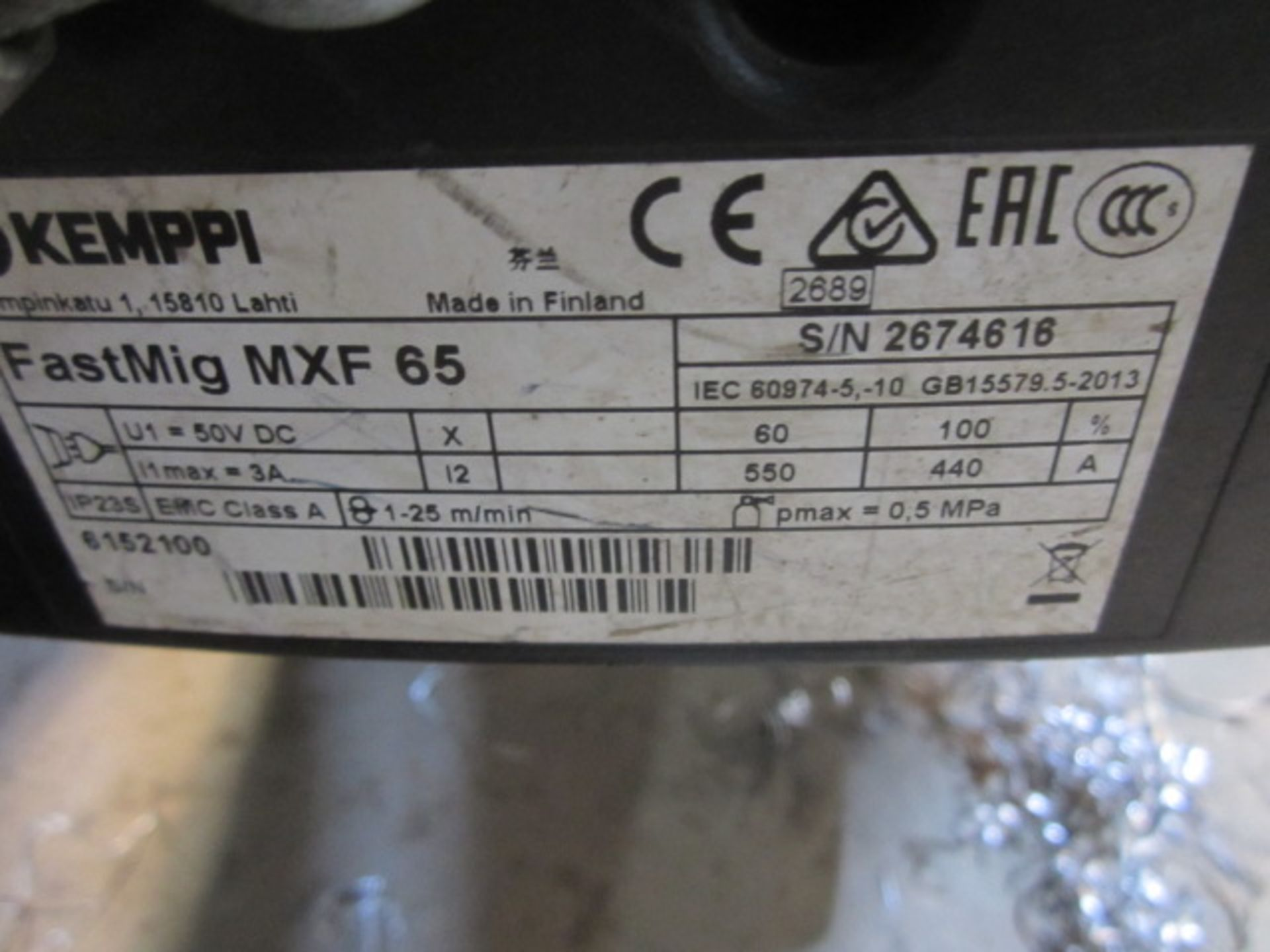 Kemppi Fast Mig M420 mig welder, serial no. 2673739, with Fast Mig MXF65 wire feeder, serial no. - Image 5 of 8
