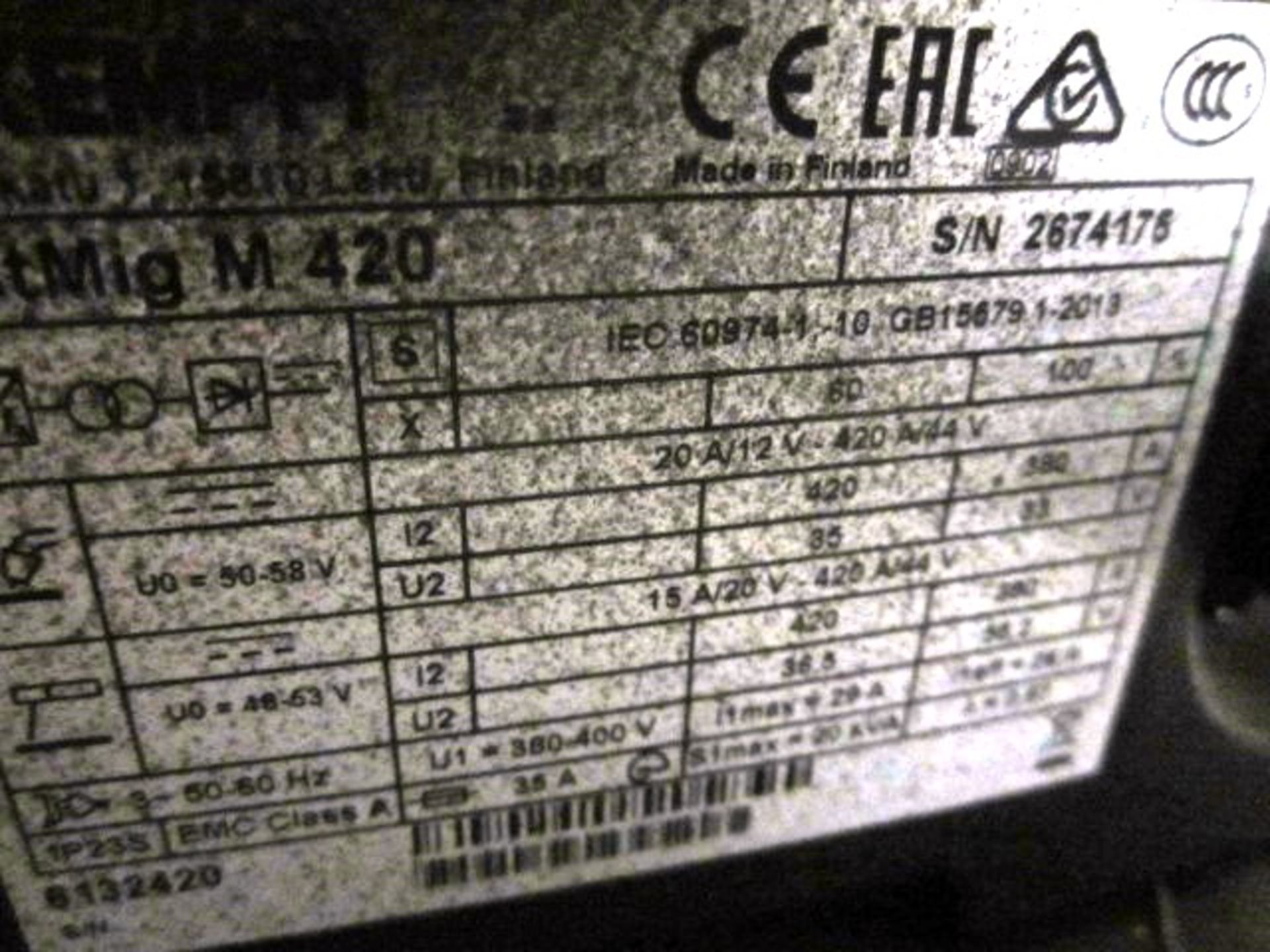 Kemppi Fast Mig M420 mig welder, serial no. 2674175, with Fast Mig MXF65 wire feeder, serial no. - Image 7 of 7