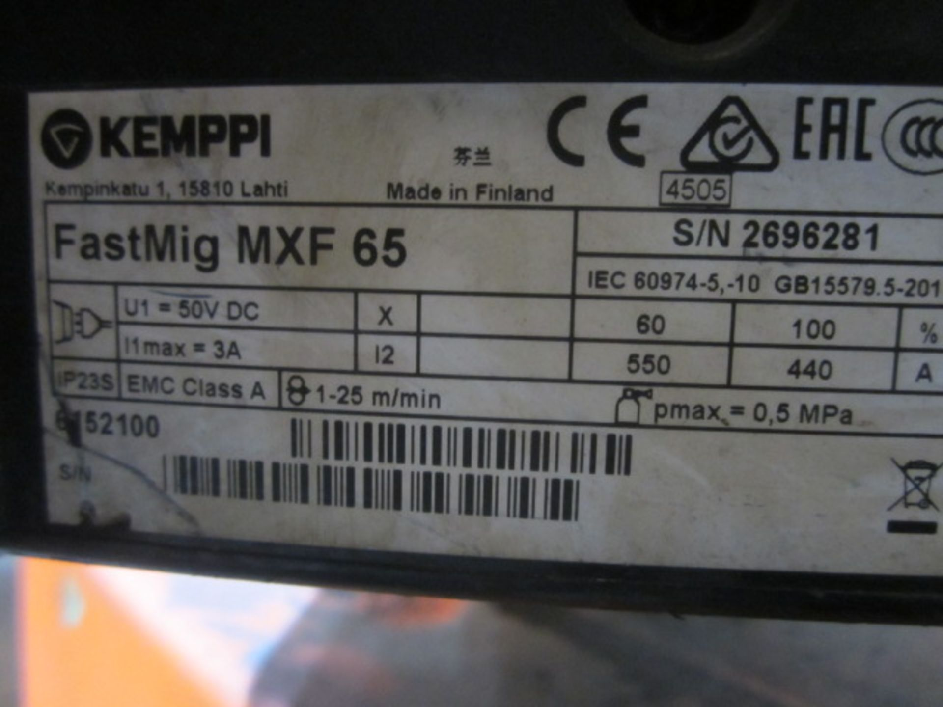 Kemppi Fast Mig M420 mig welder, serial no. 2694678, with Fast Mig MXF65 wire feeder, serial no. - Image 6 of 7