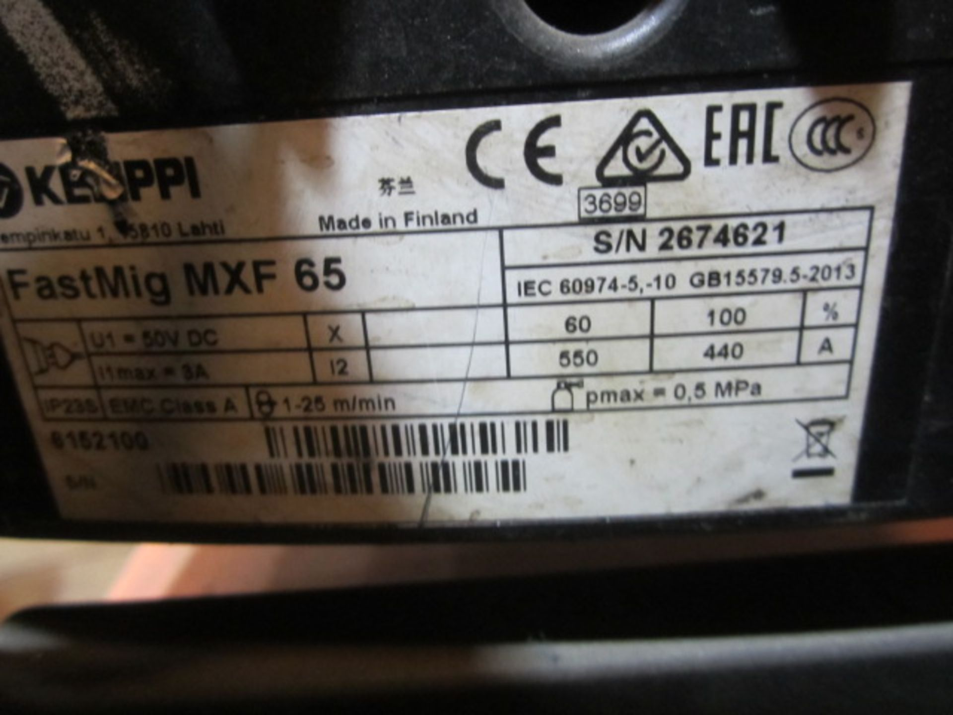 Kemppi Fast Mig M420 mig welder, serial no. 2674278, with Fast Mig MXF65 wire feeder, serial no. - Image 6 of 7