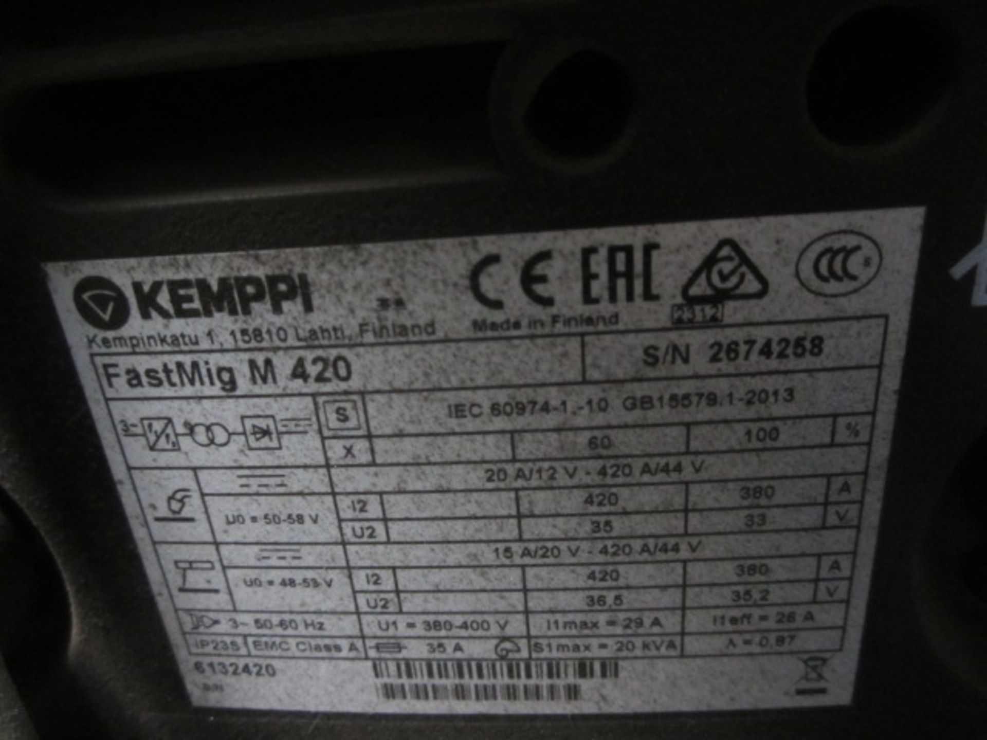 Kemppi Fast Mig M420 mig welder, serial no. 2674258, with Fast Mig MXF65 wire feeder, serial no. - Image 8 of 8