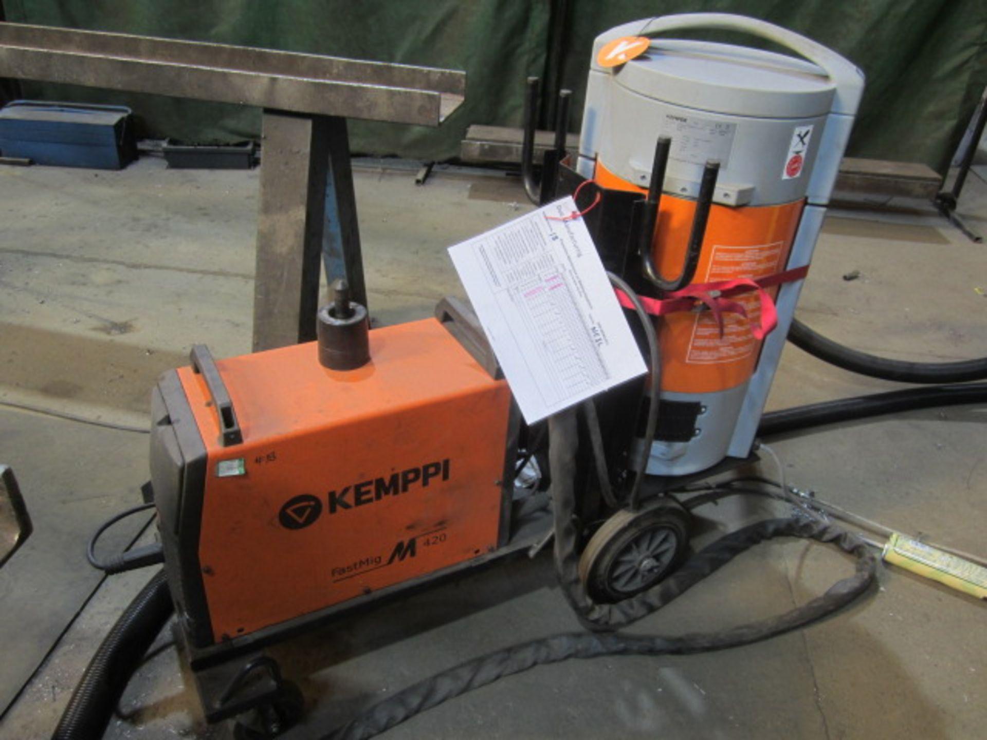 Kemppi Fast Mig M420 mig welder, serial no. 2673739, with Fast Mig MXF65 wire feeder, serial no.