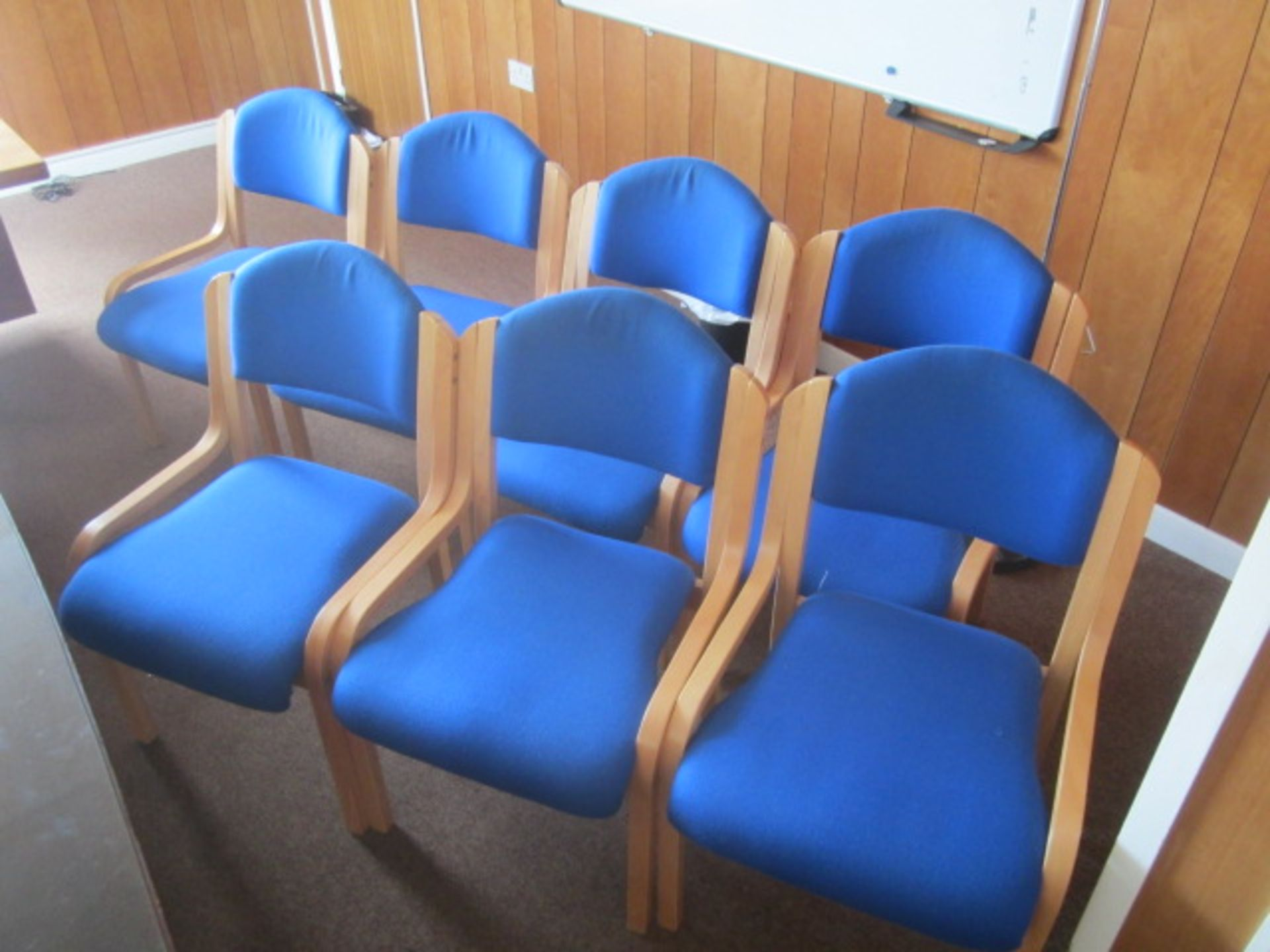 Seven cloth upholstered wood frame side chairs, blue