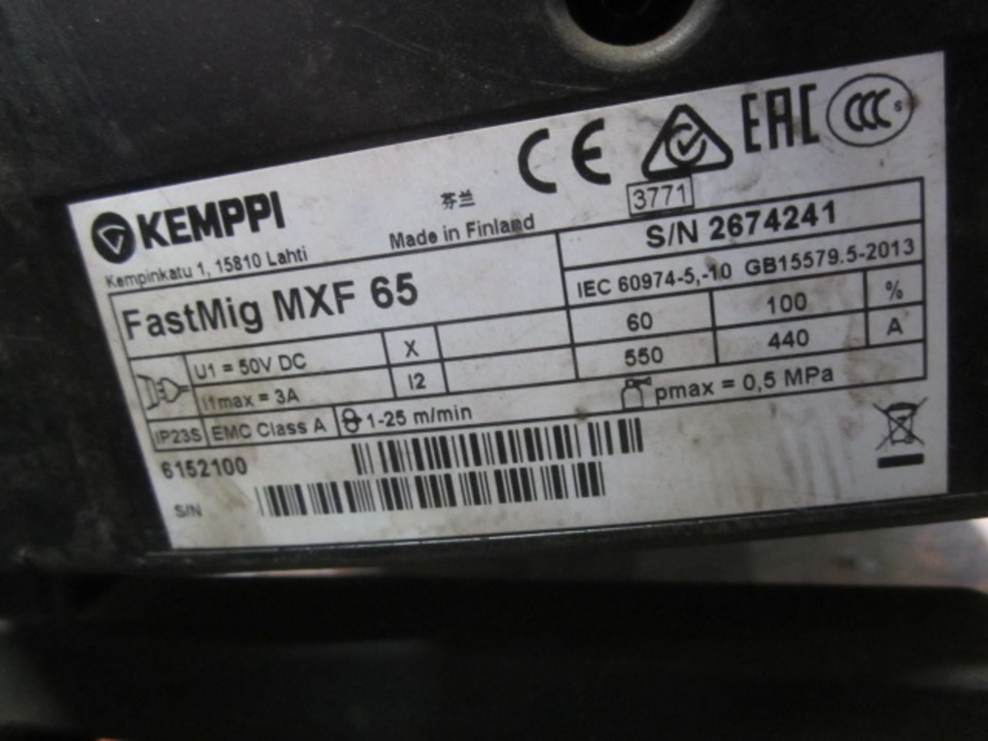 Kemppi Fast Mig M420 mig welder, serial no. 2674258, with Fast Mig MXF65 wire feeder, serial no. - Image 7 of 8