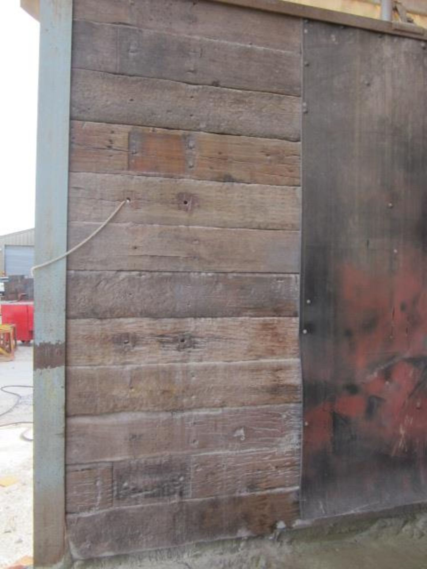Approx. 80 railway sleepers mounted into wall section. A work Method Statement and Risk Assessment - Image 3 of 3