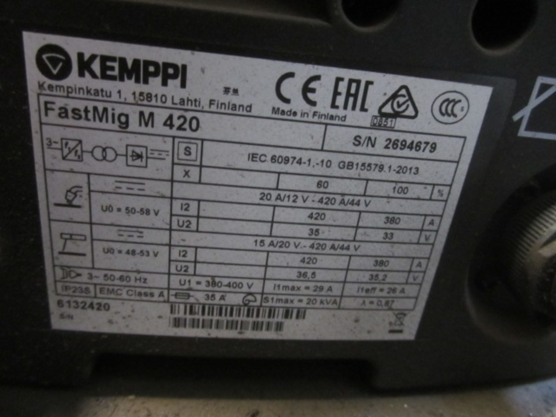 Kemppi Fast Mig M420 mig welder, serial no. 2694679, with Fast Mig MXF65 wire feeder, serial no. - Image 7 of 7