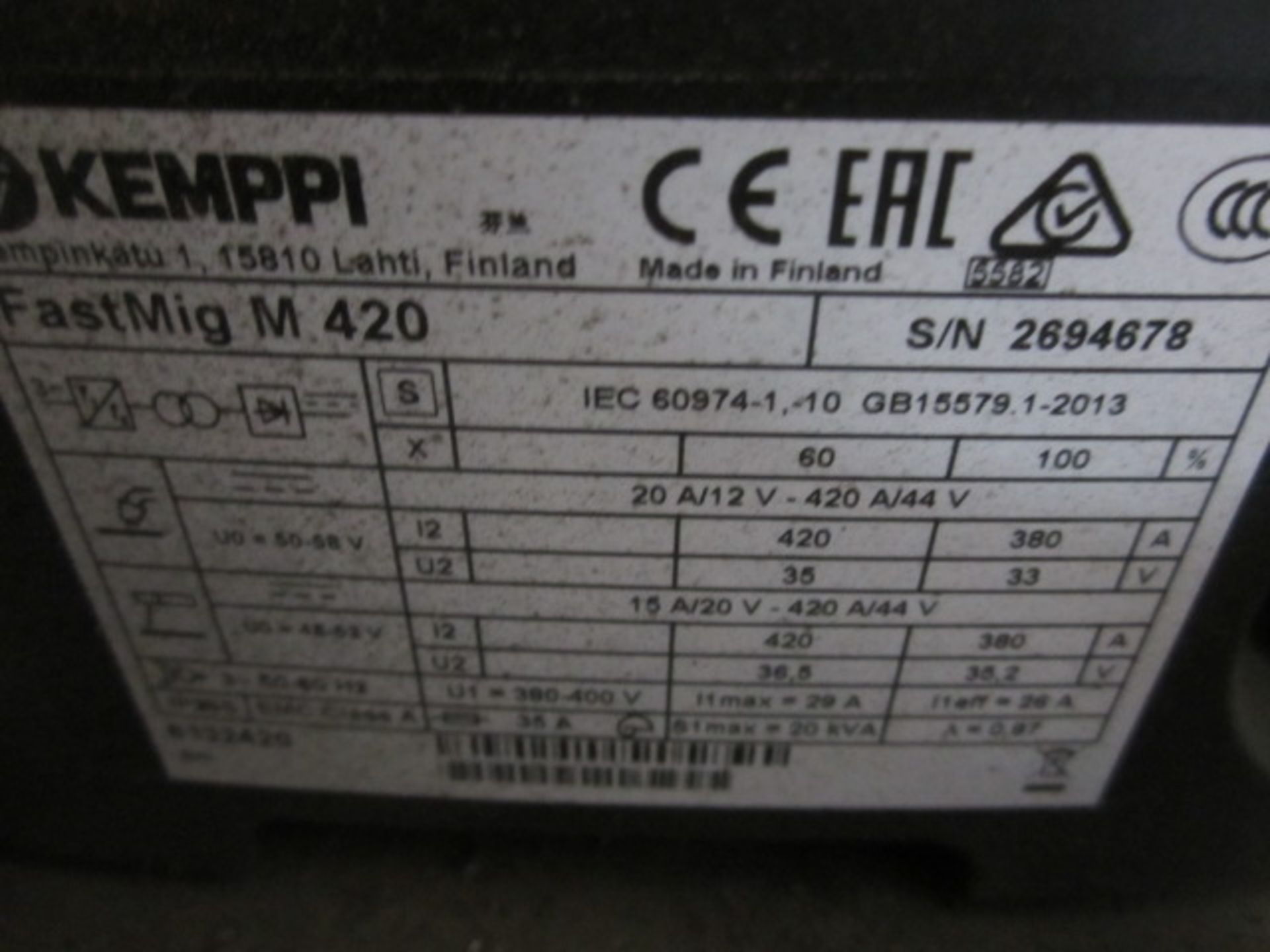 Kemppi Fast Mig M420 mig welder, serial no. 2694678, with Fast Mig MXF65 wire feeder, serial no. - Image 7 of 7