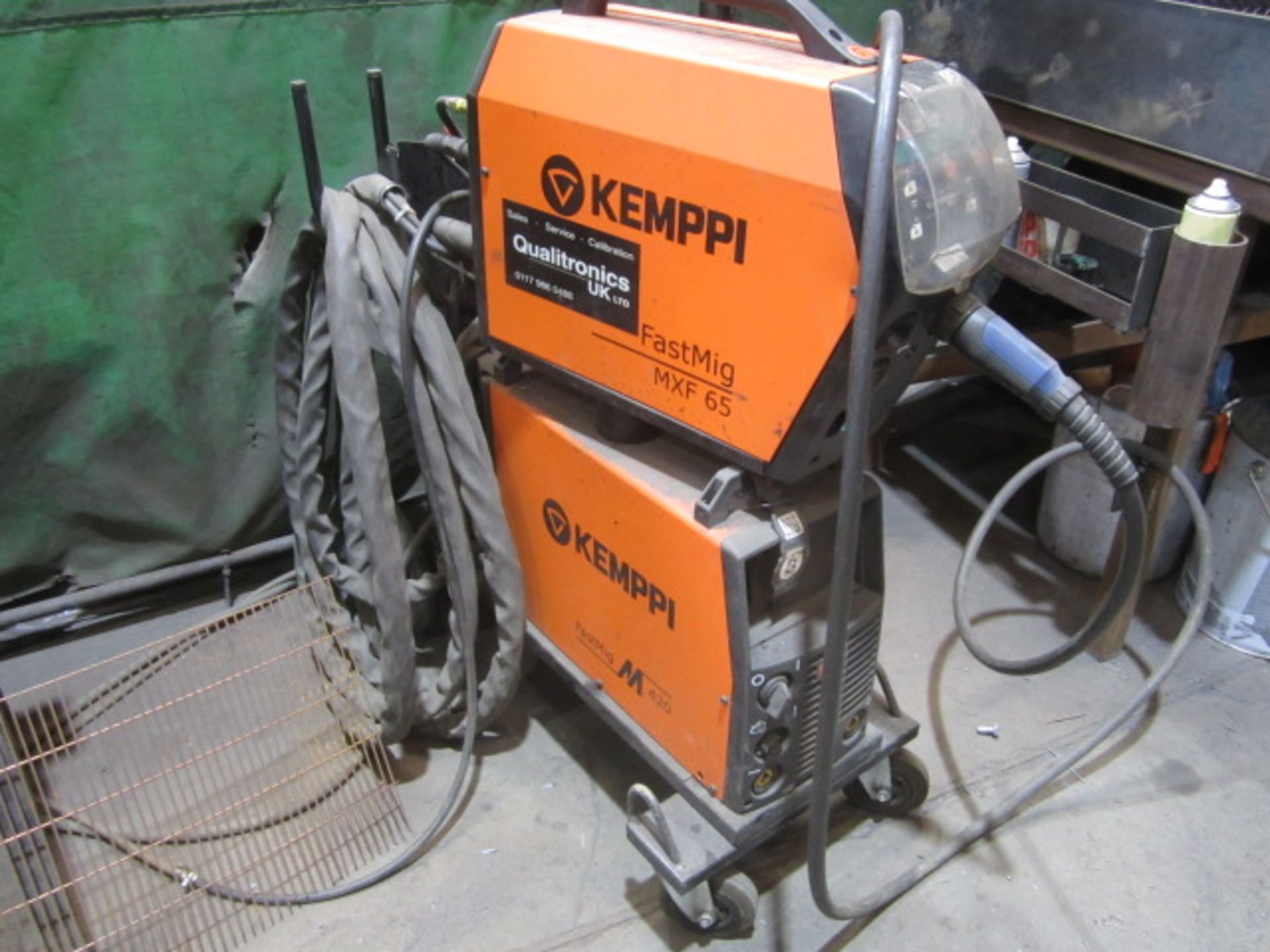 Kemppi Fast Mig M420 mig welder, serial no. 2674258, with Fast Mig MXF65 wire feeder, serial no.