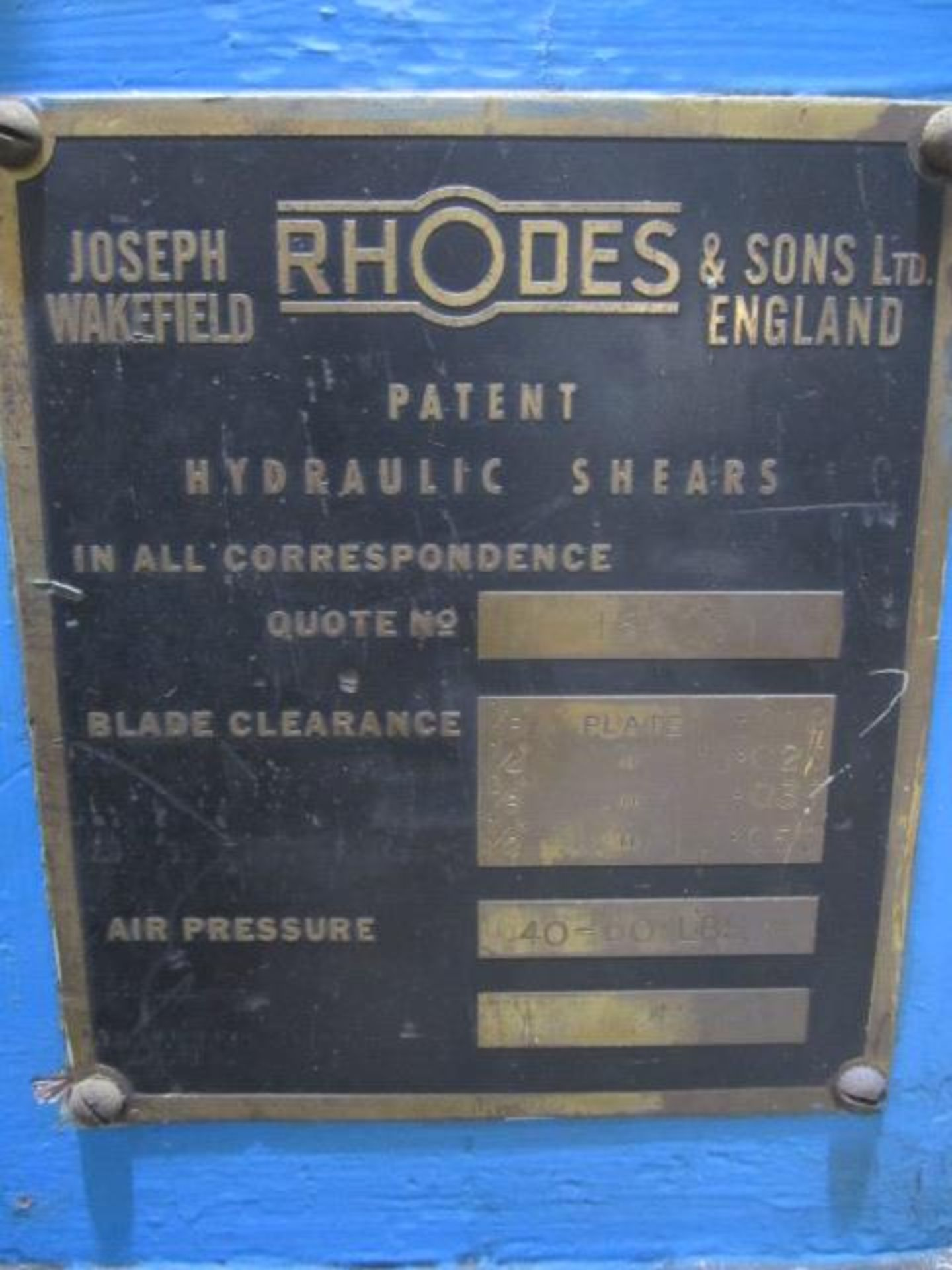 Rhodes 10ft heavy gauge hydraulic guillotine, serial no. 15603, power back gauge, front supports, - Image 3 of 9