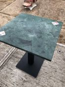 Four 600mm square marble top single pedestal tables