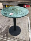 Five 600mm diameter marble top single pedestal tables