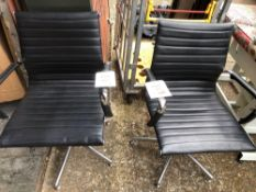 Two black leatherette & Chrome office chairs