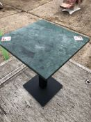 Five 600mm square marble top single pedestal tables