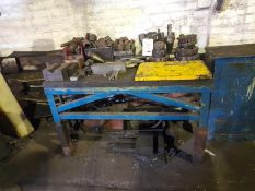 Steel bench with contents of milling cutters, chucks, V blocks machine vice (PLEASE NOTE: the steel