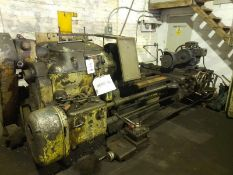 "Dean Smith & Grace type D gap bed lathe with 80"" between centres and spindle grinding attachment."