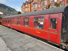 BR Mark 1 type TSO coach, no. M4643, 64-seats in red chain link moquette, maroon livery (1957)