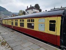 BR Mark 1 type BSK coach, no. E34537, 32-seats in red/blue moquette, 1 x WC, carmine and cream